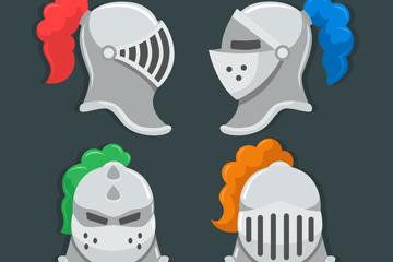 4款银色骑士头盔矢量素材