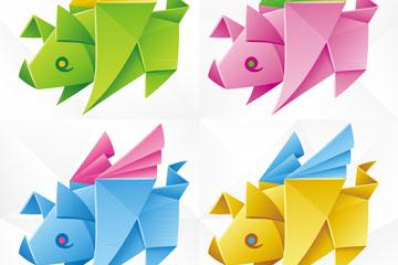 4款彩色带翅膀的猪折纸矢量素材