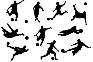 10款动感踢足球的人物剪影矢量素