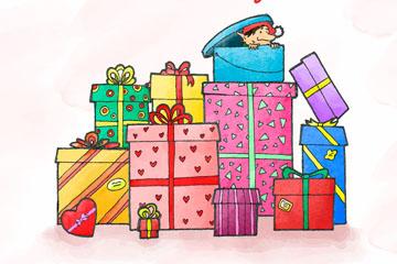 彩绘圣诞节礼品堆矢量素材