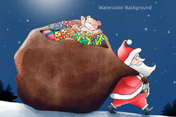 水彩绘拖礼物包裹的圣诞老人矢量图