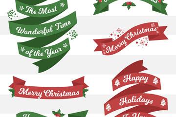 6款彩色圣诞节快乐丝带条幅矢量素材