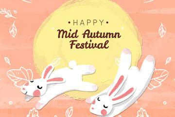 可爱中秋节白兔矢量素材