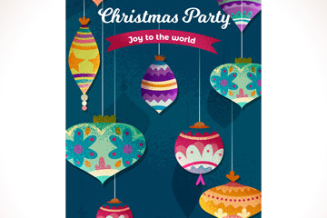 彩色圣诞花纹吊球派对传单矢量图
