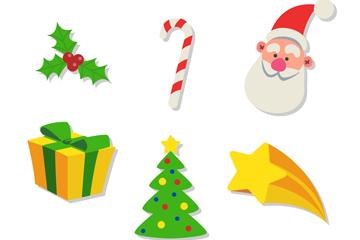 6款彩色圣诞节元素矢量素材
