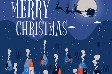 创意圣诞节夜晚村庄矢量素材