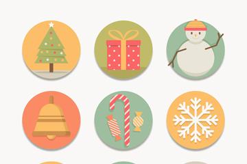 9款圆形圣诞节图标矢量素材