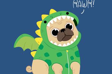 创意穿恐龙服的哈巴狗矢量素材