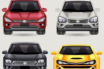 4款彩色时尚轿车正面图矢量素材