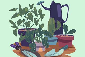 彩绘绿色盆栽和工具矢量素材