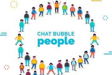 创意人群组合语言气泡矢量图