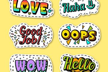 6款彩绘语言贴纸矢量素材