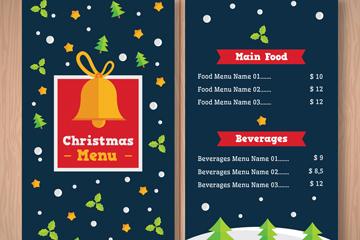 扁平化圣诞节菜单正反面矢量图