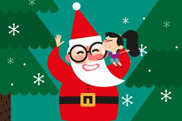 可爱圣诞老人和女孩矢量素材