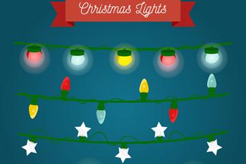 4款创意圣诞节彩灯串矢量素材