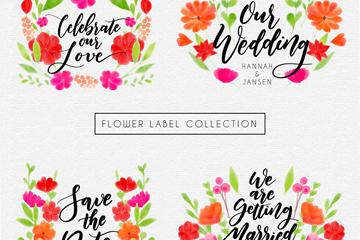 4款水彩绘花卉标签矢量素材