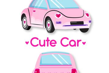 可爱粉色轿车正反面矢量素材