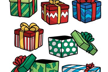7款创意节日花纹礼盒矢量素材