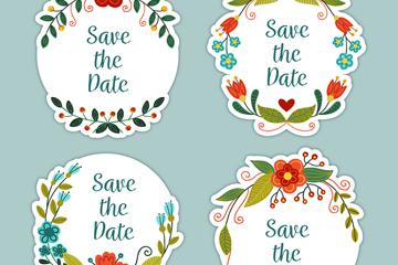 4款彩色婚礼花边贴纸矢量素材