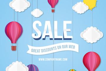 彩色热气球网站促销海报矢量图