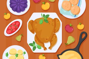 创意感恩节摆满食物餐桌俯视图乐虎国际线上娱乐乐虎国际