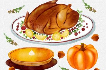 3款水彩绘感恩节食物乐虎国际线上娱乐乐虎国际
