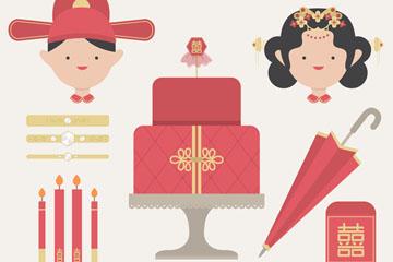 12款创意中式婚礼元素矢量素材