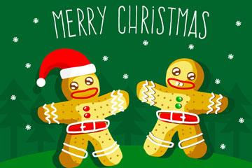 彩绘圣诞节姜饼人矢量素材