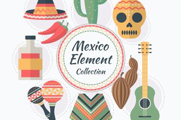 9款扁平化墨西哥元素矢量素材