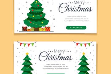 2款绿色圣诞树banner矢量素材