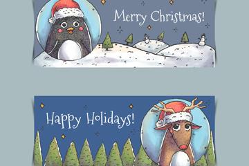 2款彩绘圣诞动物banner矢量素材