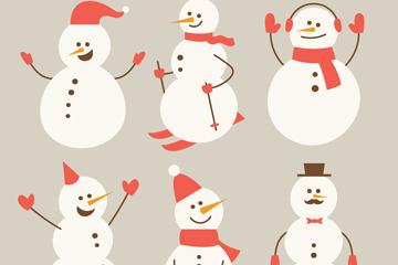6款创意笑脸雪人矢量素材