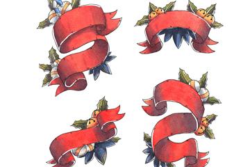 4款彩绘圣诞节丝带条幅矢量素材