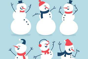 6款可爱笑脸雪人矢量素材