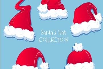 5款彩绘红色圣诞帽矢量素材
