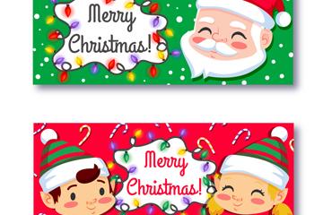 2款可爱圣诞节人物头像banner矢