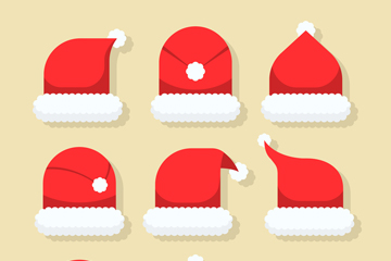 9款创意红色圣诞帽矢量素材