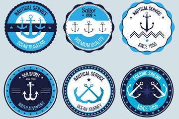 6款圆形航海标签矢量素材