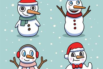 4款彩绘雪中的雪人矢量素材