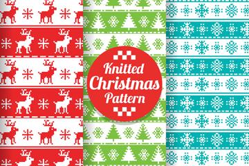 3款彩色圣诞花纹无缝背景矢量素