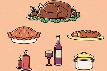 8款彩绘感恩节物品矢量素材