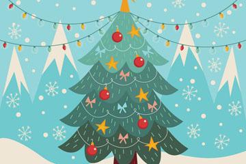 彩绘郊外雪中的圣诞树矢量素材