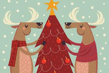 创意2只装饰圣诞树的驯鹿矢量素
