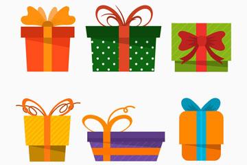 6款彩色圣诞节礼盒矢量素材