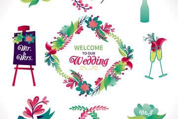 9款彩色婚礼花卉元素乐虎国际线上娱乐乐虎国际