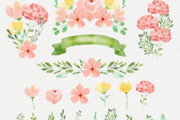22款水彩绘婚礼花草设计矢量图