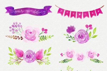 21款紫色婚礼花卉元素矢量素材