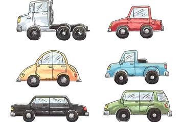 6款水彩绘车辆设计矢量素材