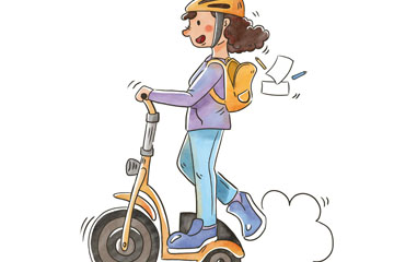 彩绘骑电动滑板车的女子开户送体验彩金的网站