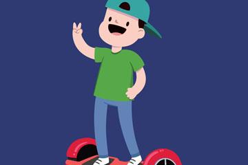 卡通骑电动平衡车的男子开户送体验彩金的网站